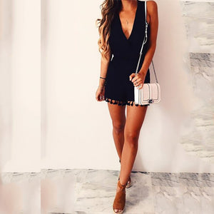 Deep V Collar Vacation Jumpsuit