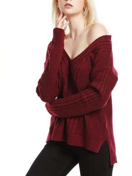 V-Neck Loose Large Size Knit Sweater