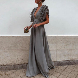 Sexy V Neck Short Sleeves Evening Maxi Dress
