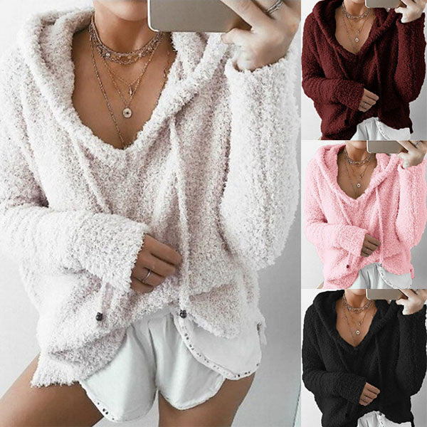 Long Sleeve V Neck Pocket Pullover Hoodies Sweater