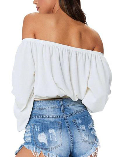 Off Shoulder  Lace Up  Exposed Navel  Plain  Blouses