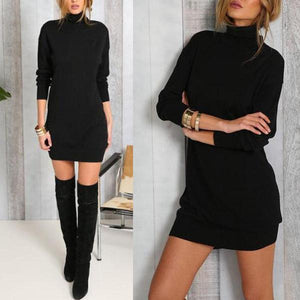 High Neck  Plain Bodycon Dresses