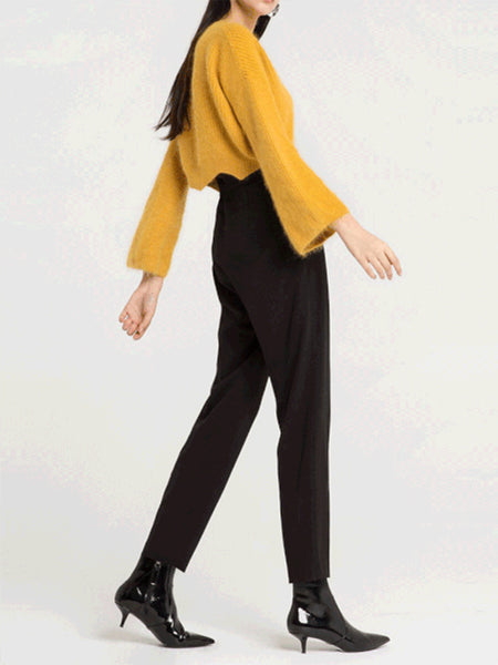 Fashion Round Collar Yellow Plain Short Sweater