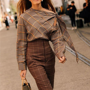 Fashion Shoulder Strap   With Plaid Print Long Sleeve Blouses