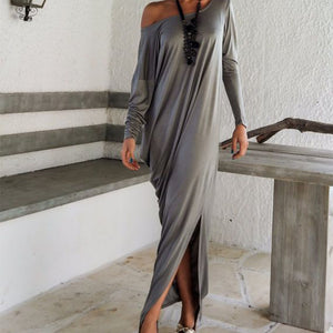 One Shoulder Slit Long Sleeve Maxi Dresses