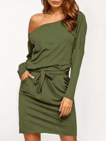 Asymmetric Neck  Bowknot  Back Hole Belt  Plain Bodycon Dresses