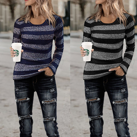 Fashion Stripe Long-Sleeve Cotton Knit T-Shirt