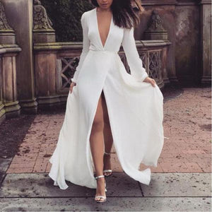 Sexy Deep V Neck Split Elegant Long Sleeve Maxi Dress