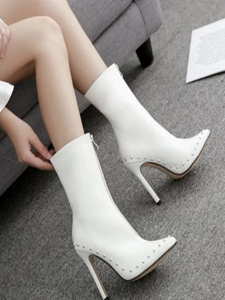 Fashion Plain High Tube Middle Zipper High Heel Boots