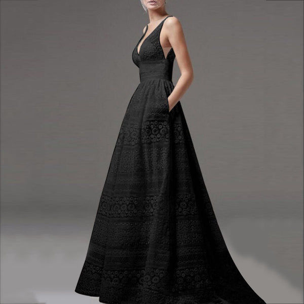 Deep V-Neck Hollow Out  Evening Dress