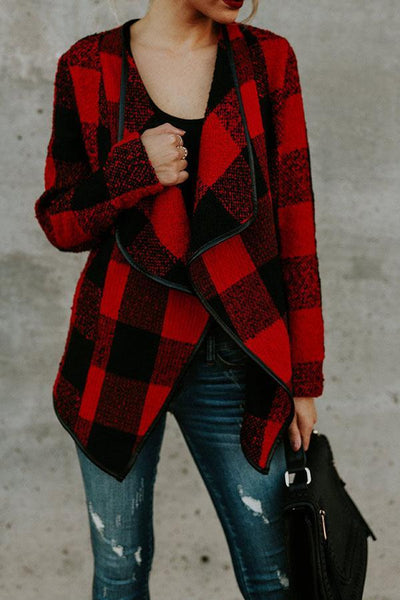 Fold Over Collar  Asymmetric Hem  Plaid Cardigan Jackets