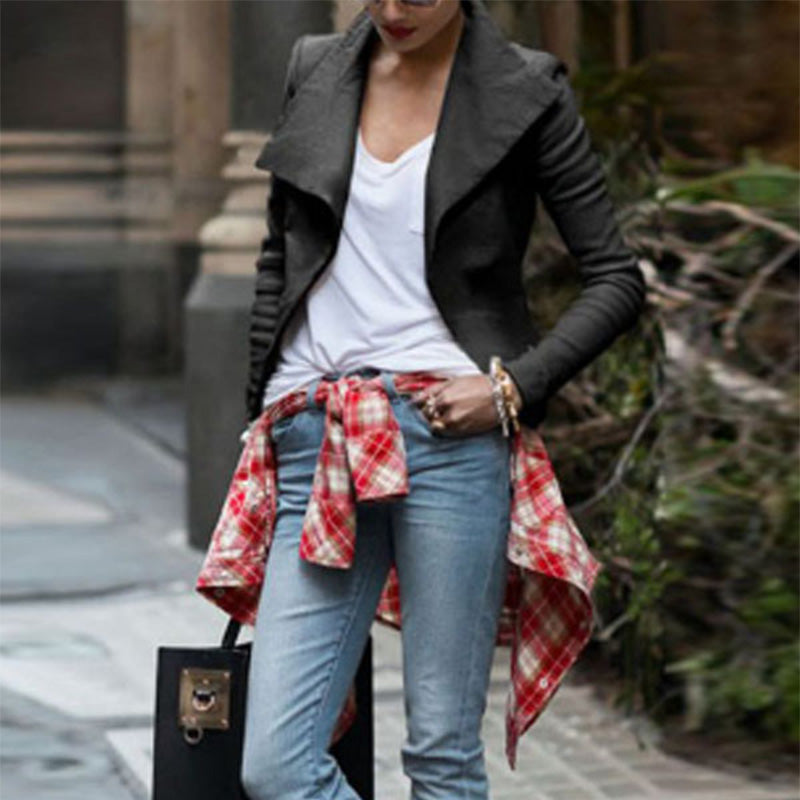 Lapel  Asymmetric Hem Zipper  Plain Jackets