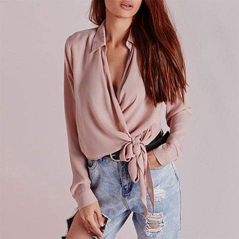 Sexy V Collar Pure Color Long-Sleeved Shirt