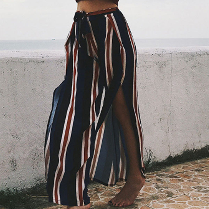 Wide Leg Belt Striped Pants
