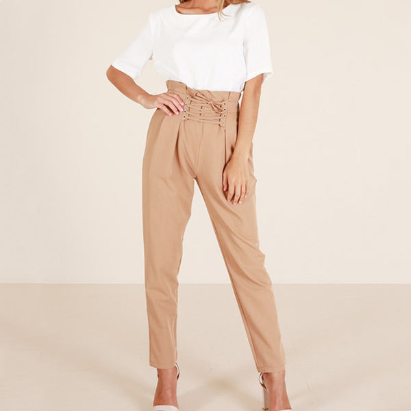 Fashion Plain Casual Pants Jumpsuits