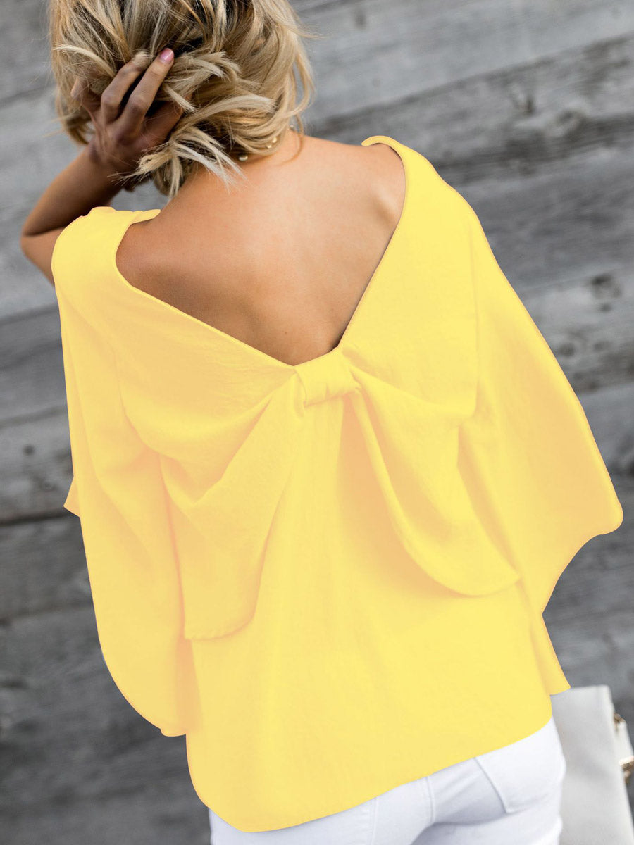 V-Neck Bowknot Plain Three-Quarter Sleeve Blouses