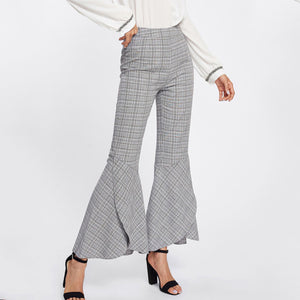 Fashion High Waist Checked Pagoda Pants
