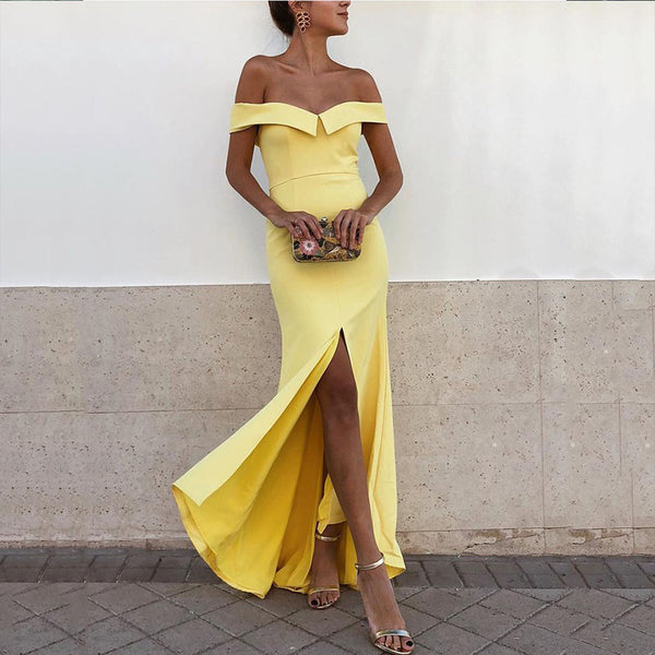 Sexy Yellow Off Shoulder Short Sleeves Bodycon Dress