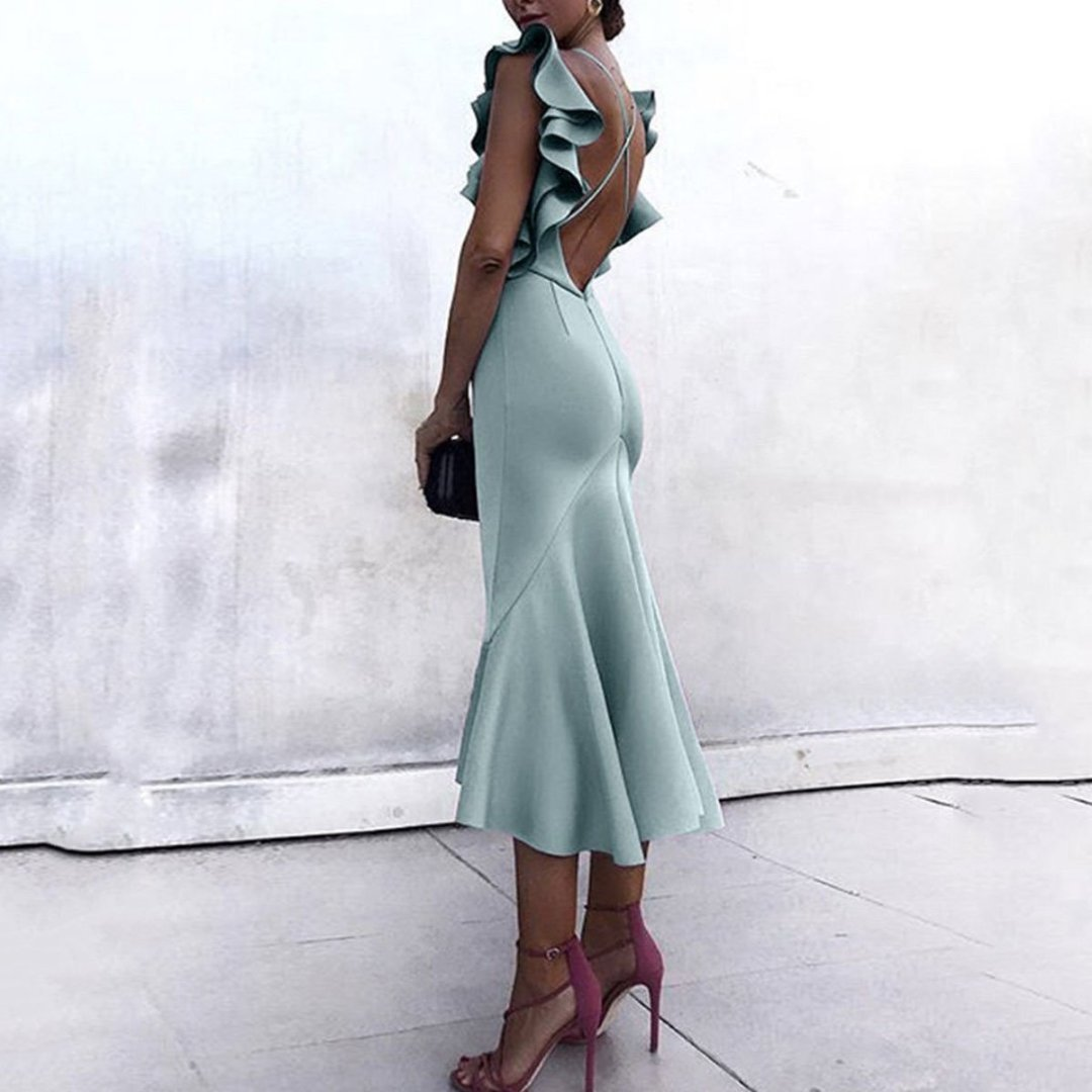 Sexy Backless Plain Maxi Fishtail Bodycon Dress