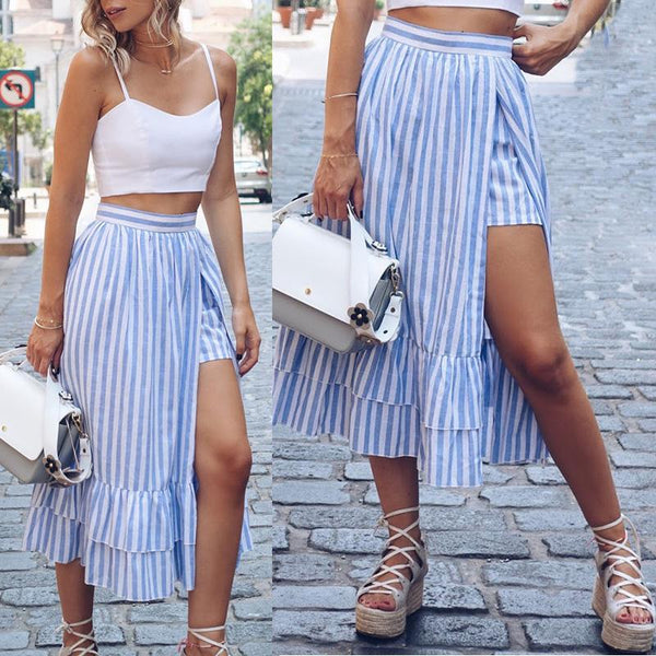 Blue And White Striped Irregular Skirt