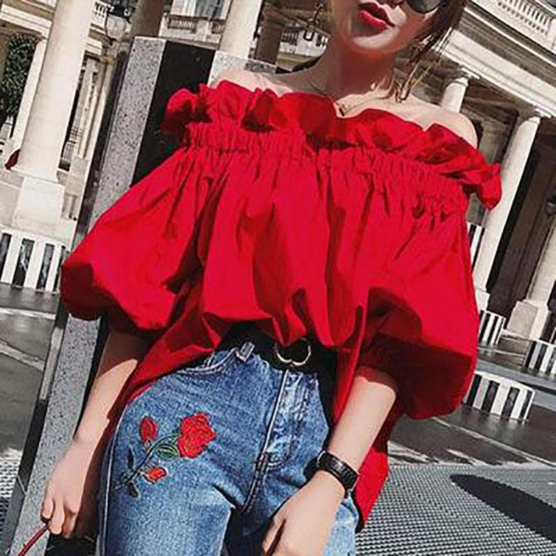 Sexy Off Shoulder Red Flouncing Blouse