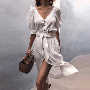 V Neck Belt Puff Sleeve Button Casual Dress