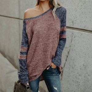 Fashion Colorblock Stitching Off-The-Shoulder Sweater