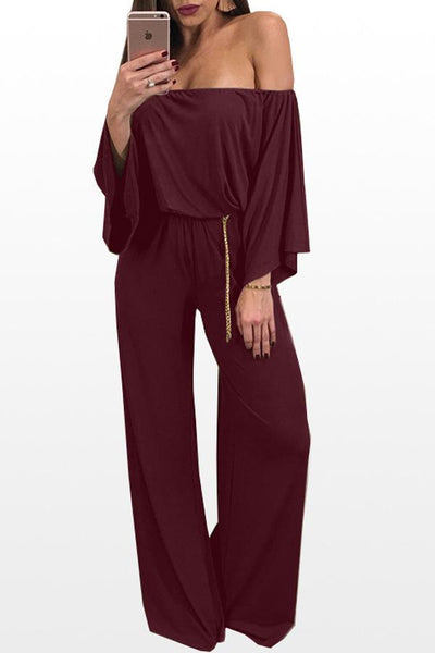 Off Shoulder  Backless  Plain  Three Quarter Sleeve Jumpsuits