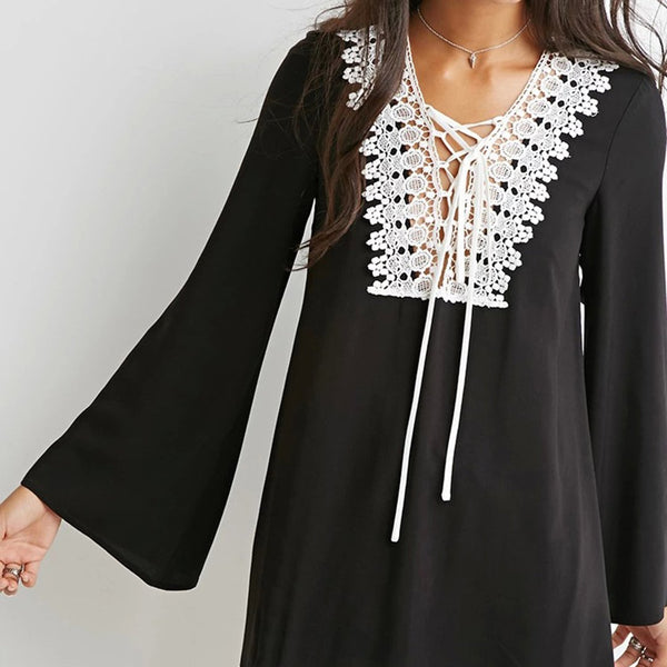 Fashion Lace Vneck Line Flare Long Sleeve Shift Dress