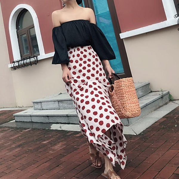 Fashion Dot Irregular Fishtail Long Skirt