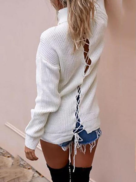 Loose Padded Cross Strap High Collar Long Sleeve Knit Sweater