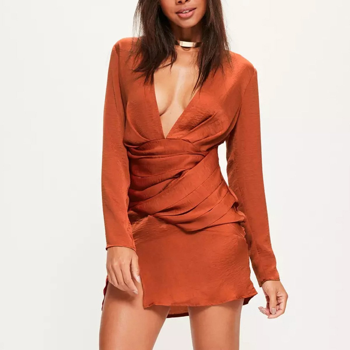 Deep V Collar Orange Long Sleeve Mini Dress