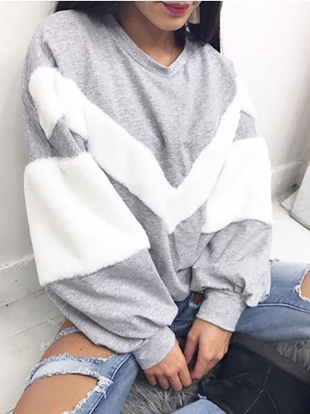 V-Type Hair-Length Long-Sleeved Sweater