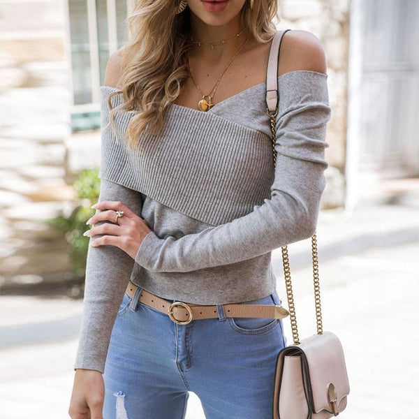 Sexy Off Shoulder Cross Patchwork Long Sleeve Knitting Sweaters