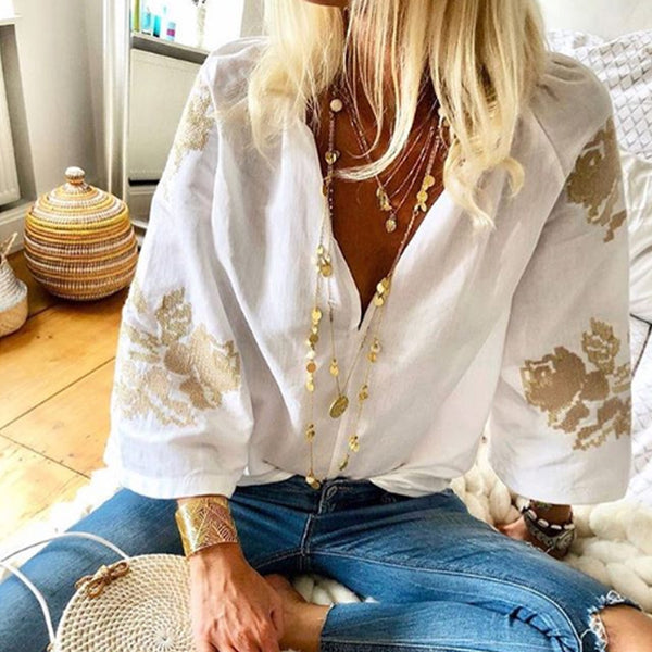 Fashion V Neck 3/4 Sleeve Printed Elegant Blouse