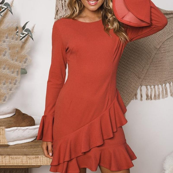 Sleeve Solid Color Trumpet Sleeve Dress Female