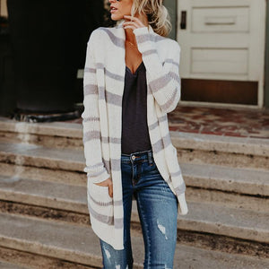 Fashion Stripes Pocket Long Sleeve Cardigans