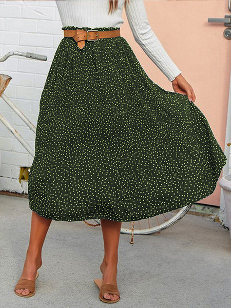 Fashion Polka Dot Wooden Ear Pleated Large Swing Skirt