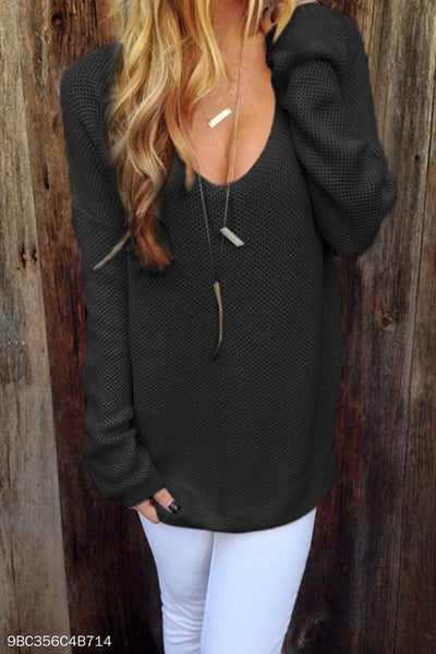Round Neck  Plain  Casual Sweaters