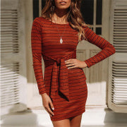 Round Neck Long Sleeve Lace-Up Slim Striped Dress