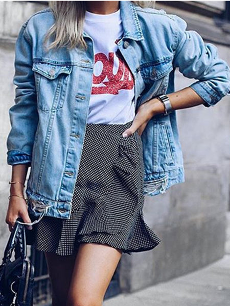 Fashion Loose Casual Hole Slimming Denim Jacket