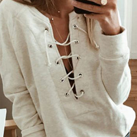 Tie Collar  Plain Casual Sweatshirts