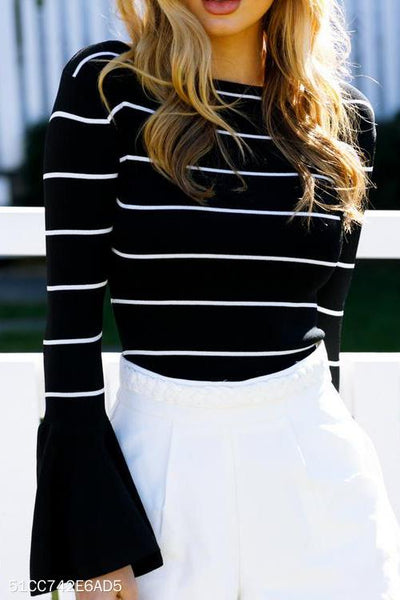 Casual Fashion Slim Strip Round Neck Long Sleeve Ruffled Cuff Top