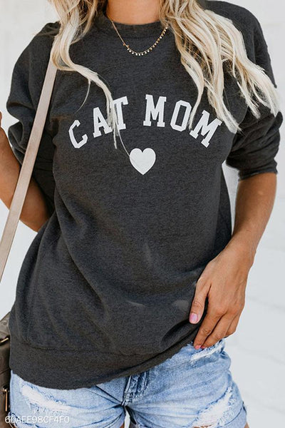 Crew Neck  Letters Casual  Sweater