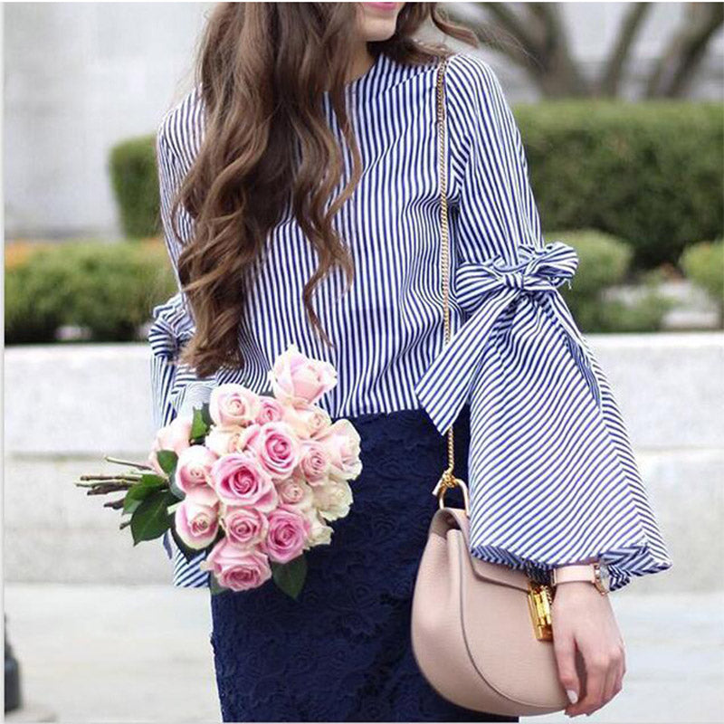 Striped Slit Sleeve Shirt