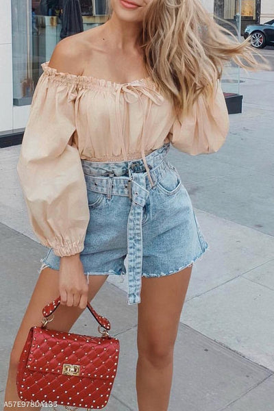 Sexy Fashion Casual Vacation Plain Off Shoulder Elastic Waist Long Sleeve Blouse