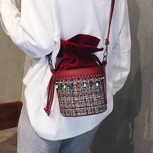 Fashion Casual Color Block Bucket Fringe Side One Shoulder Bag