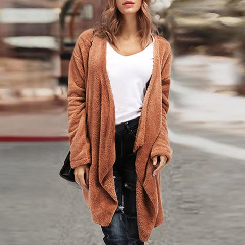Asymmetric Neck  Plain Cardigans
