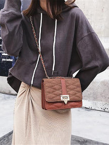 Fashion Elegant Casual Plain Square Buckle Chain One Shoulder Hand Bag