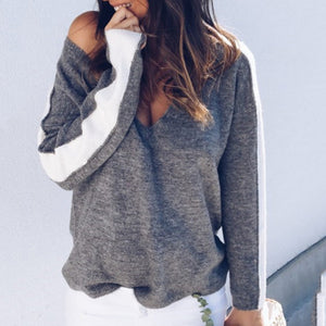 Fashion Casual Thermal Color Block Deep V Collar Long Sleeve Sweater